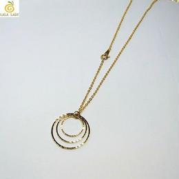 最高級鍍金 K16GP 煌めくスパークル3連リング ネックレス ◆lalalady-192
