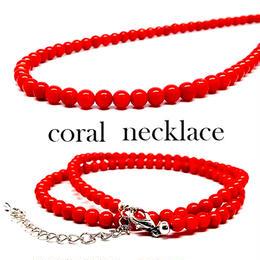 天然石 パワーストーン ネックレス◆健康運◆8mm 珊瑚 コーラル(染色)◆N1-26