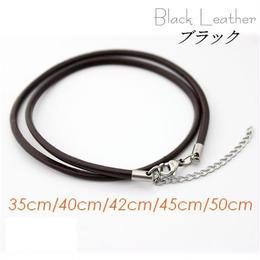 ネックレス◆幅約3mm 長さ35~50cm 本革 ブラック レザーチョーカー アジャスター付き◆C-648