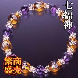 天然石 パワーストーン 全体・金・恋愛運他◆開運・七福神ブレスレット  HR◆5184