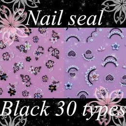 ネイルアート◆最高級ネイルシール 30種 ブラック系◆P-XF151-B
