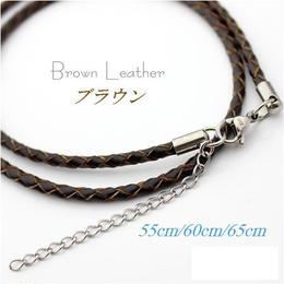 ネックレス◆幅約3mm 長さ55~65cm 本革 ブラウン レザーチョーカー 丸編み アジャスター付き◆C-649