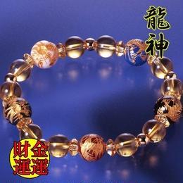 天然石 パワーストーン 金運・健康運他◆龍神・風水黄水晶ブレスレット HR◆4923