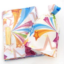 ラッピング◆星柄の素敵なカラフル巾着袋・ビニール袋5枚入り/3サイズ◆ihb0165