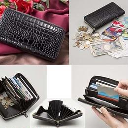 長財布 ウォレット◆牛革クロコ型押し コインスルー財布◆K12353