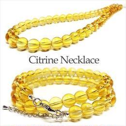 天然石 パワーストーン ネックレス◆仕事運他◆10mm シトリン 黄水晶◆N1-98