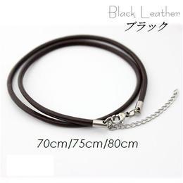 ネックレス◆幅約3mm 長さ70~80cm 本革 ブラック レザーチョーカー アジャスター付き◆C-648