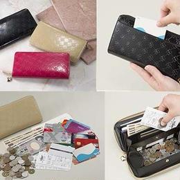 長財布 ウォレット◆おしゃれnaクローバー 牛革コインスルー財布◆K12352