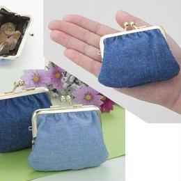 がま口◆小銭入れ 岡山デニムを使用 かわいいデニム がま口財布 ウォレット◆K12115