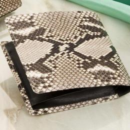 二つ折り財布 ウォレット◆ダイヤモンドパイソン 2つ折財布 金運 開運◆K10325
