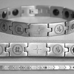 美容 健康 ブレスレット◆ステンレス製 ゲルマニウム ダイヤモンド付き 坂本龍馬◆K9875