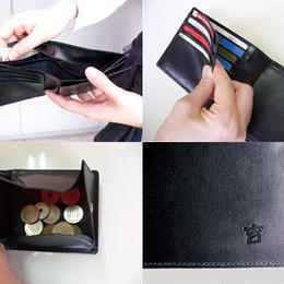 二つ折り財布 小銭入れ 本革二つ折り財布 かくれろ諭吉 金運 開運◆K9009