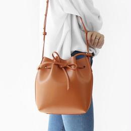 【牛皮】ミニポーチ付き 巾着型ショルダーバッグ 全3色