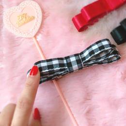 Sweet bow barrette(ギンガムブラック)