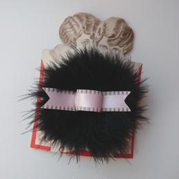 Puff hair clip(ブラック×ピンク)