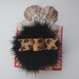 Puff hair clip(ブラック×レオパード)