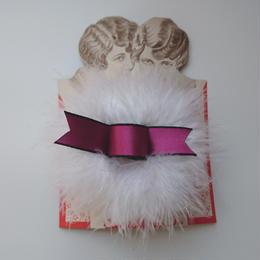 Puff hair clip(ホワイト×ピンク)