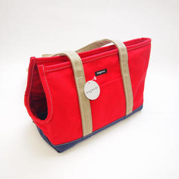 Wagwear Tri-Color Boat Canvas Carrier RED/NAVY/TAN SIZE L