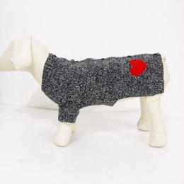Ware Of The Dog HEART CARDIGAN BLACK MELANGE/RED