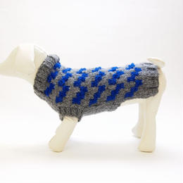 Ware Of The Dog  DOGSTOOTH SWEATER GREY/ELECTRIC BLUE