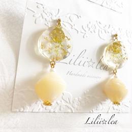 Circle*marble beads pierce/earring
