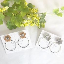 【2way】flower big hoop  pierce/earring
