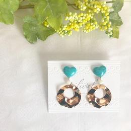 turquoise big hoop pierce/earring