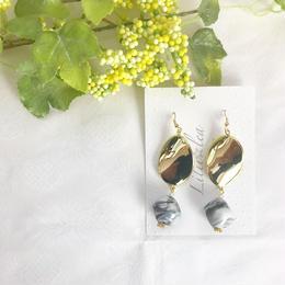 wave oval×marblebeads  pierce/earring