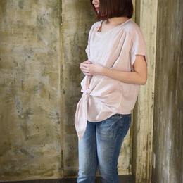 【2018ハンドメイド受注生産15日以内発送】柔らかなダブルガーゼを使った、多彩な着こなし方を楽しめるマリンリボンブラウス(大人のWガーゼ・パウダーピンク)〝linum〟