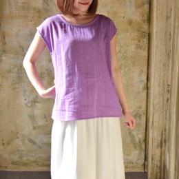 【ハンドメイド受注生産15日以内発送】ふわっふわなダブルガーゼのバックタックプルオーバーTシャツ(大人のWガーゼ・ライトパープル)linum