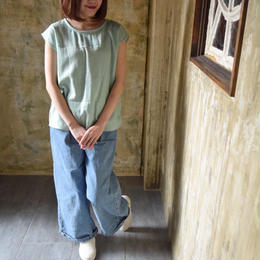 【2018ハンドメイド受注生産15日以内発送】ダブルガーゼのバックタックプルオーバーTシャツ(コットンWガーゼ・アンティークミント)linum