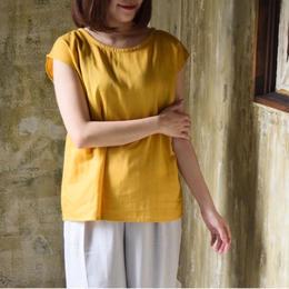 【2018ハンドメイド受注生産15日以内発送】ダブルガーゼのバックタックプルオーバーTシャツ(コットンWガーゼ・マスタード)linum