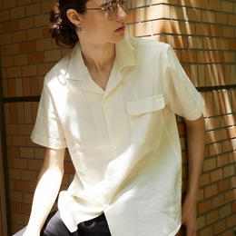 Linen open  collar shirt