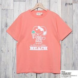 SNOOPY ビーチプリントTシャツ  (PINK)