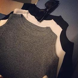 肩開きリブTシャツ