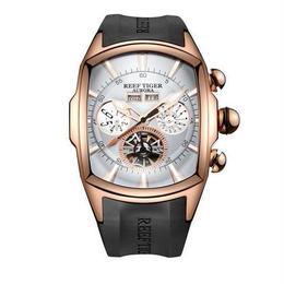 reef tiger トゥールビヨン 機械式腕時計 スケルトン  トノー型 ラバーストラップ