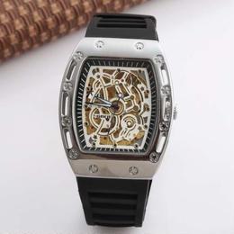 GOER リシャール・ミル風腕時計 スケルトンレザードレスウォッチ用男性レロジオmasculino
