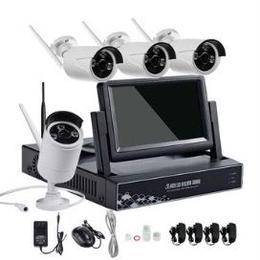 ワイヤレス防水監視防犯カメラHD4個モニター付レコーダーセット 動き検出アラーム録画 メールお知らせ 夜間も映像クリア スマホからも監視