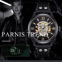 parnis watch パーニス時計 43ミリメートルパーニス黒スケルトン腕時計男性クリエイティブスカルデザイナー時計発光サファイア機械式時計トップブランド高級PA6054