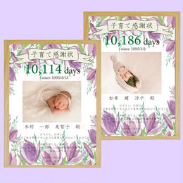 子育て感謝状withお花 2枚1組 A4◆商品番号LP170035KO