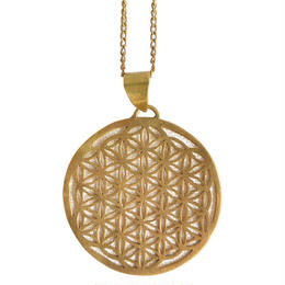 """flower of life"" handmade brass necklace ""m"" (gan003)"