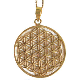 """flower of life"" handmade brass necklace ""L"" (gan004)"