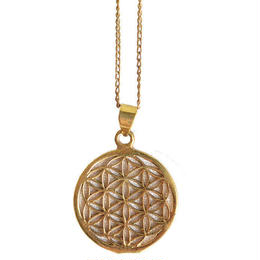 """flower of life"" handmade brass necklace ""s"" (gan002)"