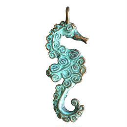 bronze seahorse pendant top (gan031)