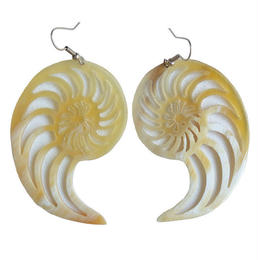 water buffalo horn ammonite pierced earring (gap011)