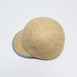 raffia cap (man&woman) natural&light blue