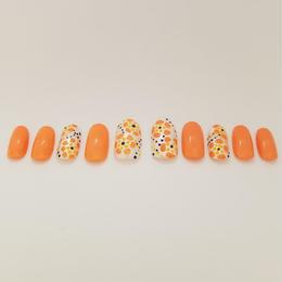 オレンジのお花ネイル【K-3】