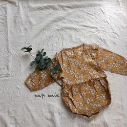【即納】フリル秋色花柄ロンパース