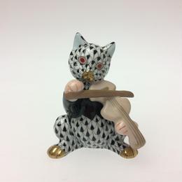 【ヘレンド】人形 VHNM  ヴァイオリンを弾く猫5087-0-00