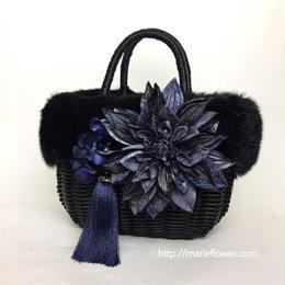FlowerBag Black M 【ファー付】ネイビー